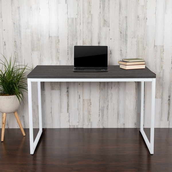 """Commercial Grade Industrial Style Office Desk - 47"""" Length. Opens flyout."""