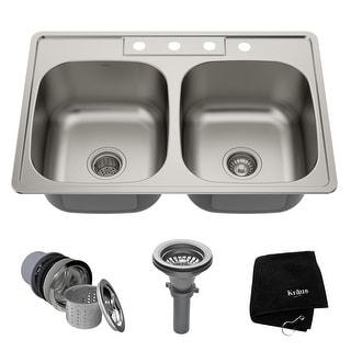 Link to KRAUS Stainless Steel 33 inch 50/50 Topmount Drop-in Kitchen Sink Similar Items in Sinks