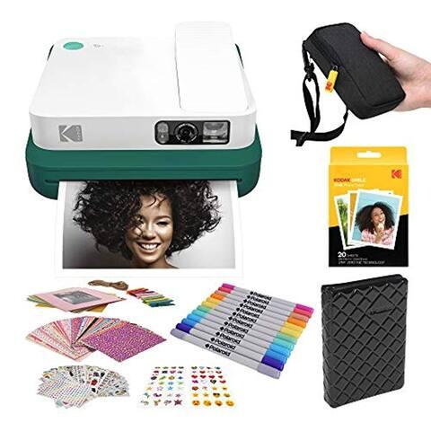 KODAK Smile Classic Digital Instant Camera with Bluetooth (Green) Stickers Bundle