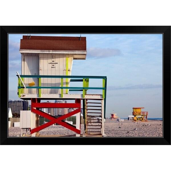 """USA, Florida, Miami Beach, Lifeguard hut"" Black Framed Print"