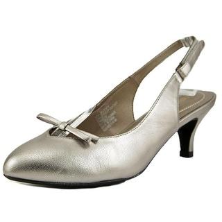 Easy Spirit Kitten Heel Women W Pointed Toe Leather Gray Slingback Heel