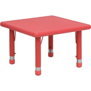 Offex 24'' Square Height Adjustable Red Plastic Activity Table [OF-YU-YCX-002-2-SQR-TBL-RED-GG]