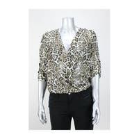 Bcx Khaki Animal Print  Lace-Back Foldover Blouse XS