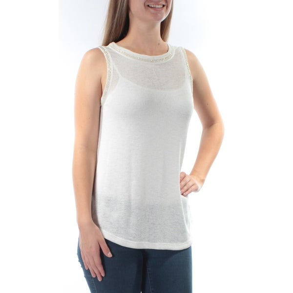SANCTUARY Womens Cream Beaded Sleeveless Jewel Neck Sweater Size: S