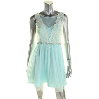 As U Wish Womens Juniors Cocktail Dress Lace Embellished - 7