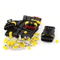 5 Set HID 4P Way Sealed Waterproof Electrical Wire Lead Connector Plug