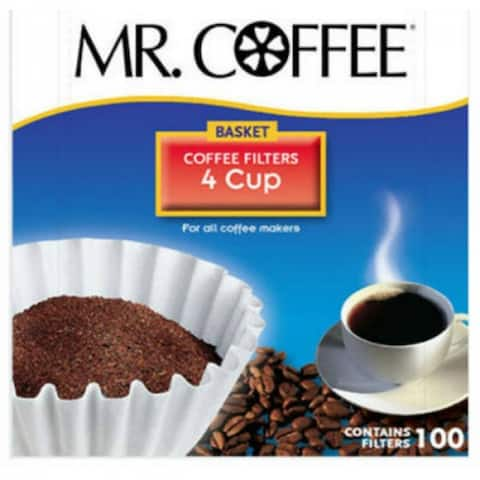 Mr. Coffee JR100 Basket Style Coffee Filters, White, 4-Cup, 100-Count