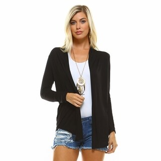 Isaac Liev Lightweight Flyaway Cardigan With Curved Hem
