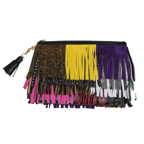 Saint Laurent Joulie Pouch Multicolor Leather Tassel Fringes 403418 CWU21