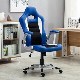 Belleze Gaming Office Chair Racing Bucket High Back Ergonomic Computer w/ Flip Armrest, Blue