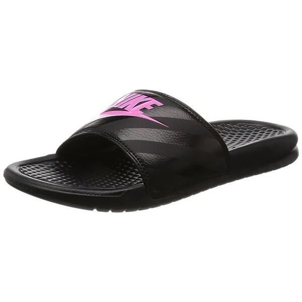 bff458b854804 Shop Nike Womens Benassi JDI Sandal (Black Vivid Pink) - Free ...