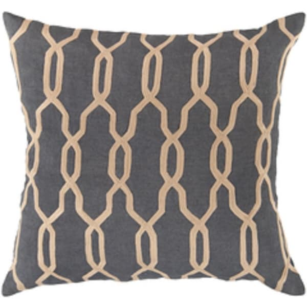 """22"""" Slate Blue and Beige Woven Trellis Patterned Decorative Throw Pillow"""