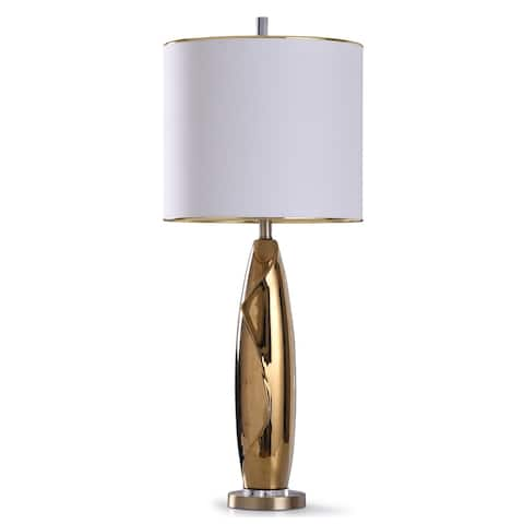StyleCraft Guildford Gold Fluid Design Acrylic Accent with Clear Acrylic and White Drum Shade Table Lamp