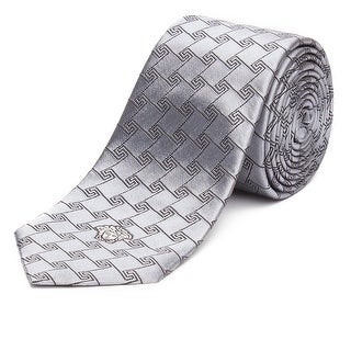 Versace Men's Slim Silk Medusa Tie Geometric Pattern Silver - no size