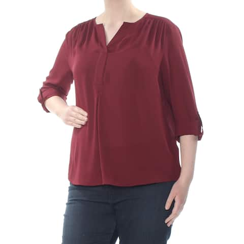 CHARTER CLUB Womens Maroon Cuffed V Neck T-Shirt Evening Top Petites Size: XL