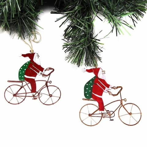 Handmade Recycled Wire Bike Riding Santa Ornament, Set of 2