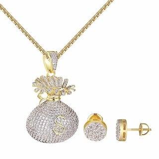 Money Bag $ Pendant Matching Cluster Set Earrings Gold Tone Lab Diamonds
