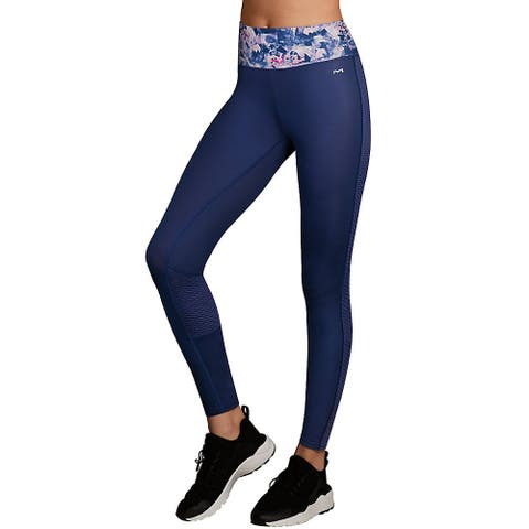 Maidenform Baselayer Active Pant - Color - Painterly Wash Print/Navy - Size - M