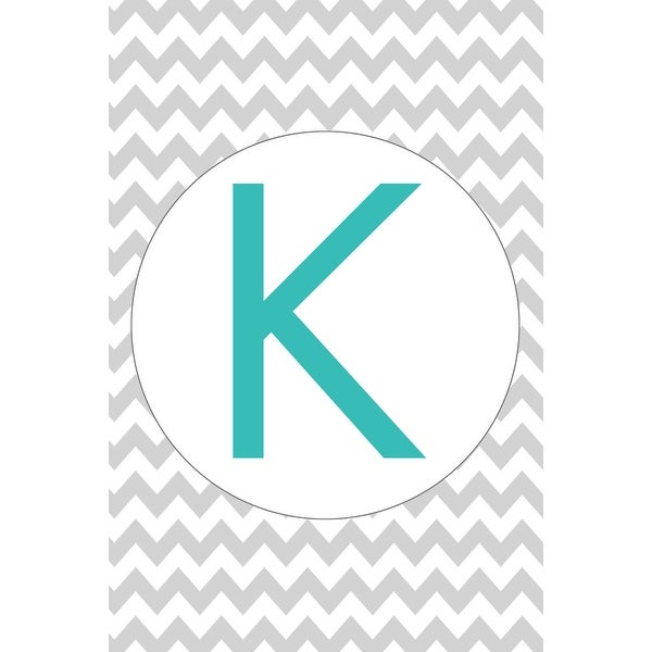 Monogram - Chevron - Gray & Teal - K (100% Cotton Towel Absorbent)