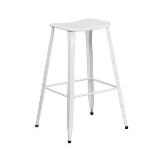 Offex 30'' High White Metal Indoor-Outdoor Barstool
