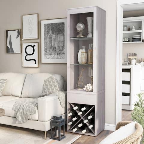 Furniture of America Jessica White Oak Modern Farmhouse Curio