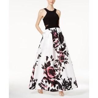 Xscape NEW Black Womens Size 2 Floral Print Mesh Cutout Gown Dress