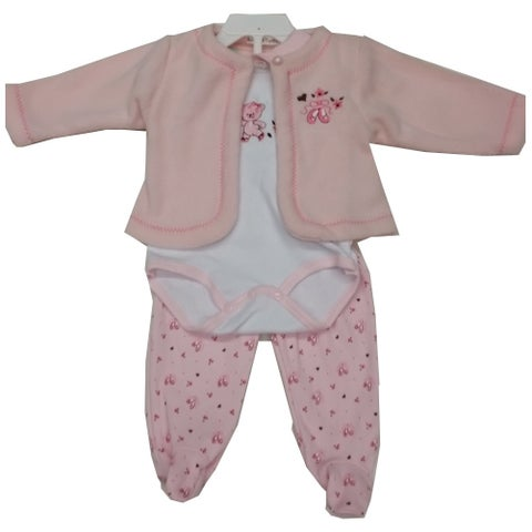 Rumble Tumble Baby Girls Pink Teddy Ballet Shoes Top Bodysuit 3 Pc Pant Set 3-9M