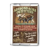 Adirondacks, Long Lake, New York - Moose Outfitters Vintage Sign - Lantern Press Artwork (Acrylic Serving Tray)