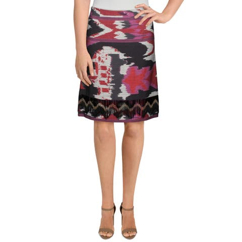 Kobi Halperin Womens Joan Pencil Skirt Printed Beaded - Beet Multi