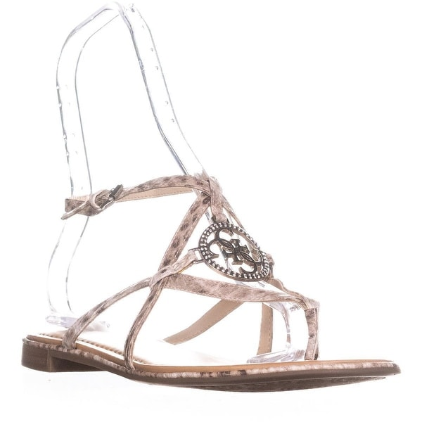 Guess Romie3 Logo T-Strap Sandals, Medium Natural - 10 us