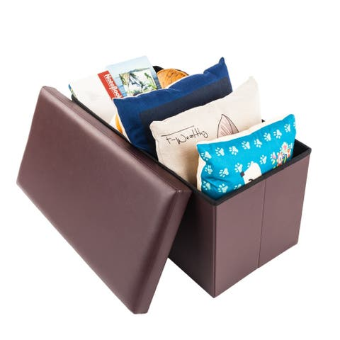Practical PVC Ottomans Leather Square Shape Footstool