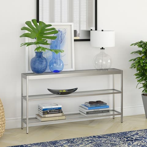 Silver Orchid Carey Blackened Bronze 3-Shelf Console Table