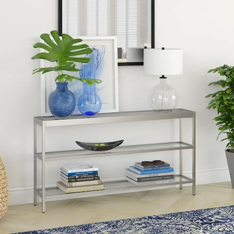 Silver Orchid Carey Steel 3-shelf Console Table