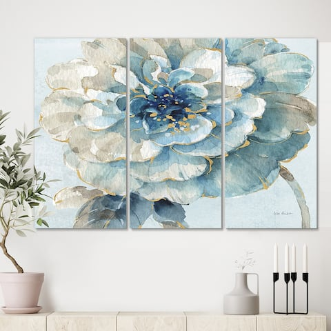 Designart 'Indigold Watercolor Flower II' Farmhouse Canvas Artwork
