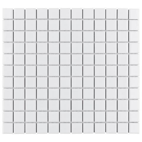 "SomerTile Metro Square Glossy Cool White 11.75"" x 12.75"" Porcelain Mosaic Floor and Wall Tile (10 tiles/9.8 sqft.)"