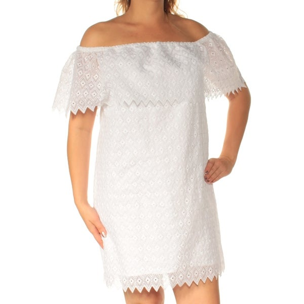 b6f740c23298f KENSIE Womens White Lace Short Sleeve Off Shoulder Above The Knee Shift  Dress Size: L
