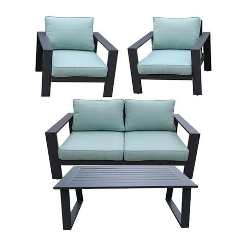 Seaside 4-Piece Outdoor Patio Seating Set by Avery Oaks Furniture - 2x Club Chairs, Loveseat & Coffee Table