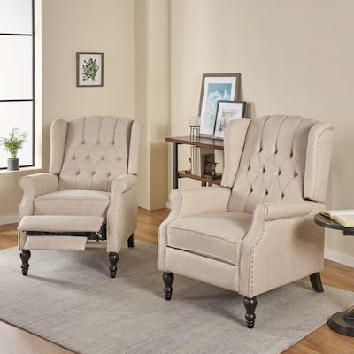 Walter Tufted Fabric Recliner (Set of 2) by Christopher Knight Home