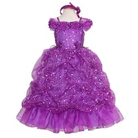 Rain Kids Purple Sparkling Stars Pageant Dress Toddler Girls 2T-10