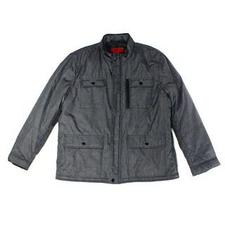 Alfani NEW Gray Mens Size Medium M Full Zip Multi-Pocket Puffer Jacket