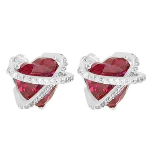 Womens Pave Set Solitaire Heart Earrings Red Ruby CZ Sterling Silver Screw On