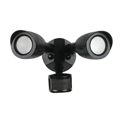 LED Security Light Dual Head With Motion Sensor Black Finish 4000K