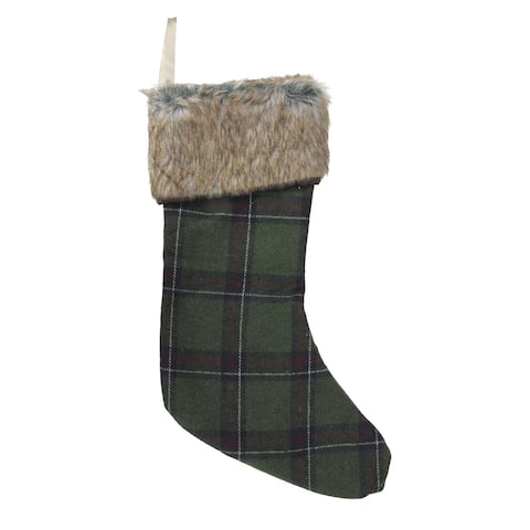 "17.5"" Green and Brown Plaid Christmas Stocking with cuff"