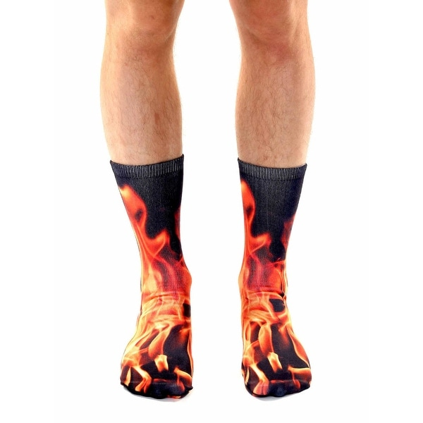 Flame Photo Print Crew Socks - Orange