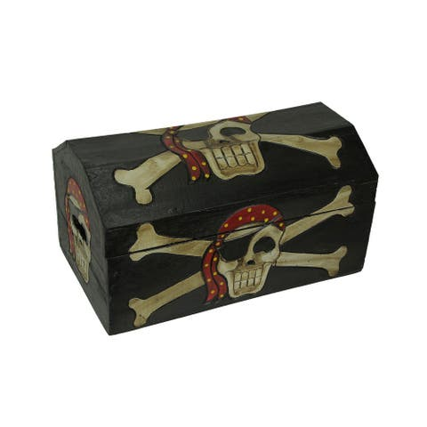Wooden Pirate Treasure Chest- Skull with Bandana - 10.75 X 19 X 10.5 inches