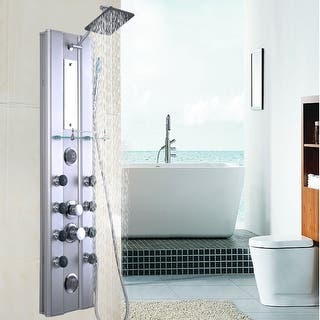 Costway 46   Bathroom Aluminum Shower Panel Thermostatic Tower w  10  Massage Jets. Shower Panels For Less   Overstock com