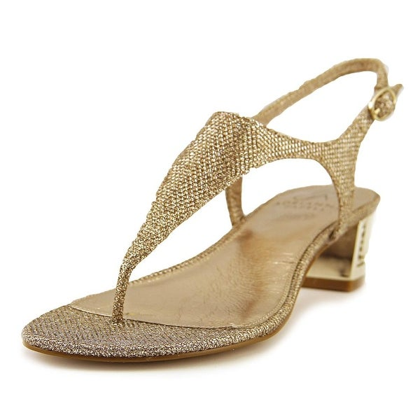 Adrianna Papell Cassidy Women Open Toe Canvas Gold Sandals
