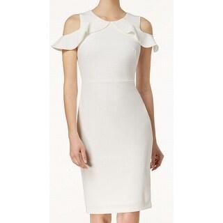 Calvin Klein Womens Cold Shoulder Sheath Dress