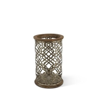 """12.99"""" Rustic Brown Distressed Finish Ogee Pattern Galvanized Candle Holder"""