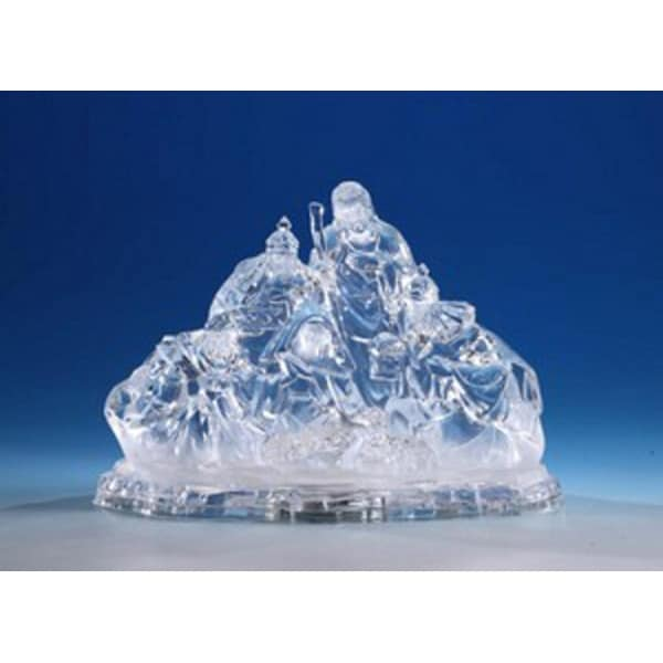 """Pack of 2 Icy Crystal Illuminated Religious Christmas Nativity Figurines 8"""""""